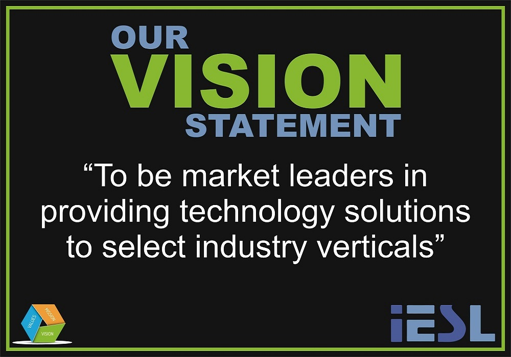 VISION: To be market leaders in providing technology solutions to select industry verticals.